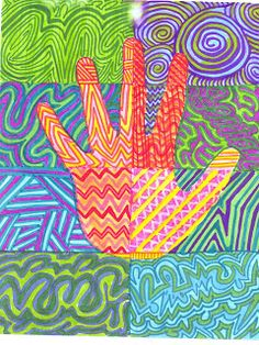 The Lost Sock  Warm colors/cool colors, colorful zentangles or line pattern activity
