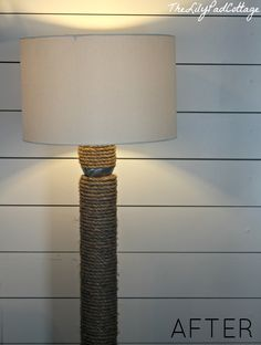Totally doing this with Dave's ugly lamp... it'd be perfect! DIY Rope Lamp AFTER - www.thelilypadcottage.com