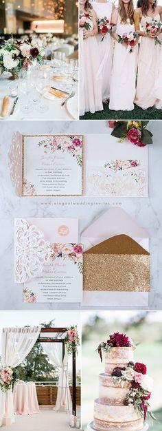 Fancy Blush Pink and Gold Floral Laser Cut Pocket Wedding Invitations EWWS201