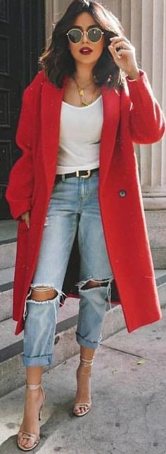 #spring #outfits woman wearing red coat, white shirt, and blue distress jeans. Pic by @simply_the_best_fash