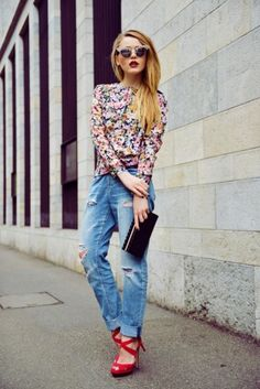 ripped jeans with floral blouse