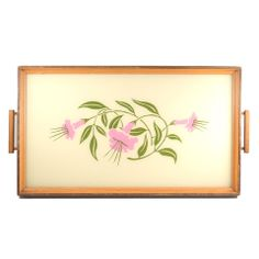 1940s Vintage Reverse Painted Lavender Flower  Cocktail Tray. Available at The Hour and TheHourShop.com