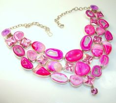 Huge!!!! Gallery Piece 214g. Agate Created Pink Topaz Sterling Silver necklace