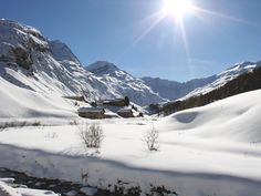 Snowy Valley outside St. Moritz, Switzerland