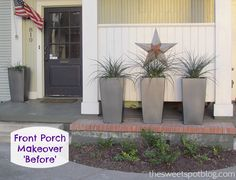 'Before' Front Porch Makeover by The Sweet Spot Blog http://thesweetspotblog.com/front-porches-makeover/ #makeover #diy #porch #staging #sellhouse #beforeafter