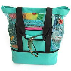 19a38e989efc Odyseaco Aruba Mesh Beach Tote Bag with Zipper Top and Insulated Picnic  Cooler