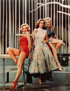 Marilyn Monroe, Lauren Bacall and Betty Grable in How To Marry a Millionaire, 1953. (via audreyandmarilyn)