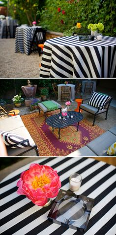 love the black & white stripe with bright florals
