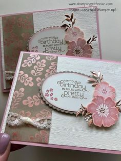 Everything is Rosy Product Medley Goes Vintage - Christys Stamping Spot Vintage Birthday Cards, Handmade Birthday Cards, Birthday Greeting Cards, Happy Birthday Cards, Birthday Greetings, Greeting Cards Handmade, Vintage Cards, Birthday Wishes, Vintage Diy