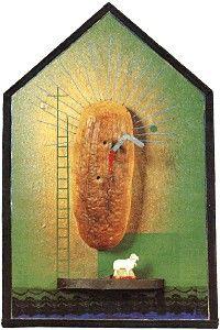 władysław hasior, chleb polski (z cyklu: kapliczki domowe), 1992, asamblaż