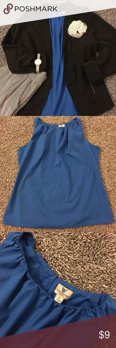 Cobalt blue layering tank This tank is pre-loved with a lot of life left to offer. Not worn heavily but does have some slight discoloration under the arms and down (see pic). Not real noticeable & certainly not while worn layered. I think it was from deodorant maybe?! Please see pics for details, condition & measurements. Cobalt blue is color -the pics show the color well IMO. Lovely with blazes! Have questions? Ask! Offers/bundles 👍 but please 🚫 models, lowballs (Posh does take a cut) or…