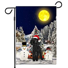 PrintYmotion Poodle Dog with Snowman Christmas Holidays Garden Flag, Dog Lovers Gift (12 x 18 Inches) PrintYmotion #Poodle #Dog Lovers gift #Christmas Gift #Christmas Flag