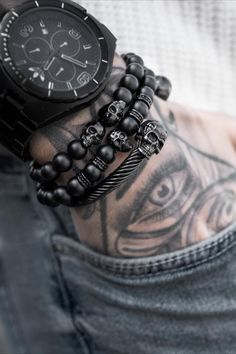 Gear up with new SkeletonHD jewelry! Crafted with premium stones and signature skulls. Free & Fast shipping on all orders. Mens Fashion Sweaters, Fitness Fashion, Men's Fashion, Black Skulls, Beaded Skull, Leather Accessories, Bracelet Set, Godzilla Tattoo, Watches For Men