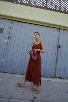 Aimee Song of Style Nanushka rust midi dress Chloe pixie round bag rag and bone plaid blazer raye shoes wooden earrings Aimee Song, Garance, Song Of Style, Daily Fashion, Fashion Women, Modest Fashion, Spring Outfits, Cool Style, Dresser