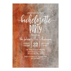 Autumn Orange Gray Bachelorette Party Invitation - rustic style country natural diy customize personalize