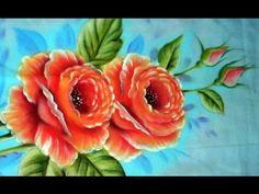 Ensinando a pintar Rosas no tecido - YouTube