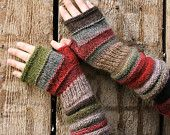Lingonberry Tea Striped Fingerless Unmatched Hand Knit Mittens knit with upcycled wool and kid mohair Crochet Mittens, Crochet Gloves, Knit Crochet, Fingerless Gloves Knitted, Knitted Hats, Knitting Projects, Crochet Projects, Hand Knitting, Knitting Patterns