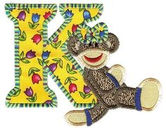 Sock Monkeys Applique Alphabet - 5x7 | Alphabets | Machine Embroidery Designs | SWAKembroidery.com