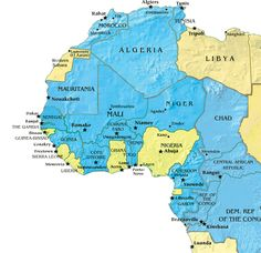 French West Africa: Nations in blue are former colonies of France.