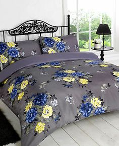 Vintage Flower Quilt Cover - Grey Navy Blue & Yellow Floral Bedding Bed Set | eBay