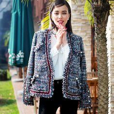 Твидовый пиджак высокое качество весна/осень/зима пальто куртки трикотажные граничит перламутровая пуговица маленькие дамы с длинными рукавами короткая куртка купить на AliExpress