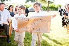 """Teddy & Sammy?  """"Uncle Matt, Here Comes Your Girl!!""""  * I know we already talked about this but I just liked the look/style of this one like their little scroll sign mainly .."""