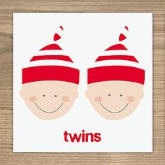 New Baby Card - Baby Twins by Showler and Showler, the perfect gift for Explore more unique gifts in our curated marketplace. Baby Boy Or Girl, New Baby Boys, Baby Kids, Twin Boys, Twin Babies, Twins, New Baby Cards, Card Maker, New Baby Products