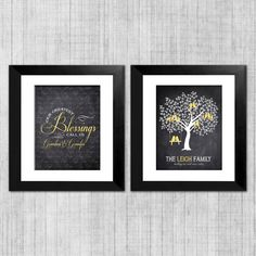Grandparents Wall Art  Personalized Family Tree by InvitingMoments, $30.00  This family wall art set is the perfect Christmas gift for your grandparents! Shown in a chalkboard style with yellow accents, all colors are completely customizable.   The first art print features a lovely quote about grandchildren, and the background features all of your grandchildren's names. The second print showcases a lovely family tree which can hold as many family members as needed.