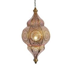 Beautiful Moorish brass hanging lantern with delicate pink glow from the interior which is painted. The exterior is perforated with a stunning design pattern. Opens to hold 75 watt bulb. brass chain and ceiling plate included. Moroccan Chandelier, Moroccan Lighting, Moroccan Lamp, Moroccan Lanterns, Modern Moroccan, Moroccan Style, Pink Lanterns, Hanging Lanterns, Hanging Lights