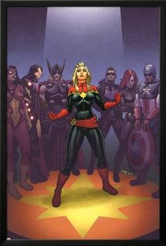 Lamina Framed Poster: Avengers: the Enemy Within #1 Cover: Captain Marvel, Thor, Iron Man, Hawkeye, Black Widow by Joe Quinones : 38x26in