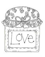 Canning jar full of Love, embroidery