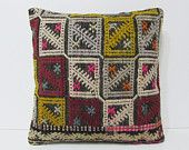 kilim rug case 18x18 primitive throw pillow bohemian cushion cover floor cushion sofa pillow couch pillow cover antique rug red pillow 20848