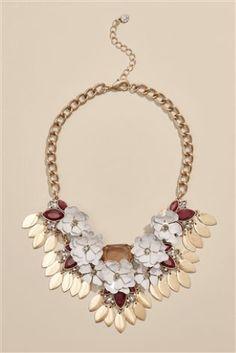 Gold Tone Floral Detail Statement Necklace