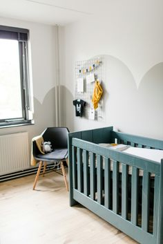 Nursery, Farrow&Ball no. 273 Wevet & no. 242 Pavilion Grey on the walls... and Inchyra Blue on the furniture. Truly love that colour!!