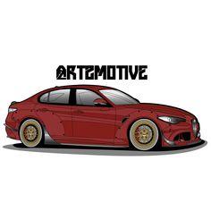 Alfa Romeo Guilia What Alfa Romeo doesn't look good in red, with gold?  #art2motive#alfaromeo#guilia#adobe#illustrator#wacom