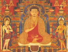 """Mirror of the Buddha, early portraits from (Eastern) Tibet, early 14th century, Distemper on cotton. The artist is anonymous. This portrait includes Taklungthangpa Chenpo with His Lineage and Manifestations. This portrait is painted in the eastern India-inspired Sharri style. """"Mirror of the Buddha will be complemented by a full-color catalog rich with new scholarship, by curator David Jacson."""""""