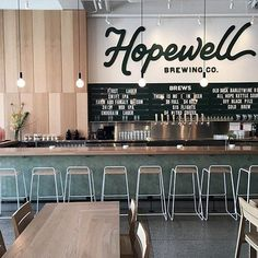 "Hopewell Brewing Co., chicago—If ""unpretentious, fresh, good beer"" is your thing, you've come to the right place. With a minimalist diner vibe, great natural light, and even better brews, Hopewell Brewing is the place to go for predinner drinks without the fuss. #restaurantdesign"
