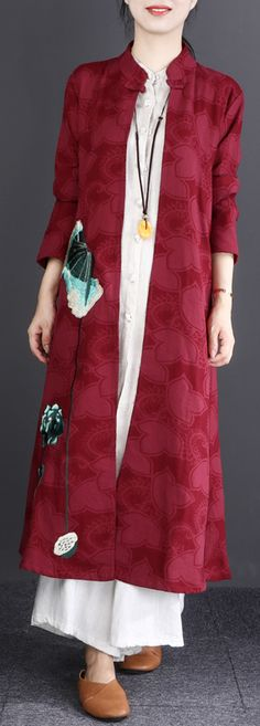7f6a44648733 top quality burgundy embroidery cotton linen maxi trench coat plus size  Stand traveling clothing New long sleeve cardigans