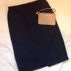 Navy Pencil Skirt for All Seasons NWT. Navy. Pencil skirt with cute wrap/slur design. Elastic waist with cool stitching design throughout. So soft and cute, skirt can be dressed up or down. Can be worn in all seasons. I'm honestly obsessed with it. Size large. Tobi Skirts Pencil