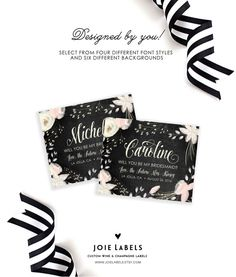 Will You Be My Bridesmaid Custom Wine Labels and Champagne Labels - Weatherproof - Self Adhesive - P