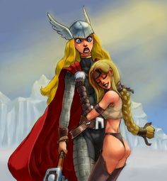 Lady Thor and Valkyrie  Artist: Flick-the-Thief on dA Thor Girl, Lady Thor, Marvel Avengers, Marvel Comics, Female Thor, Candy Art, Human Body Parts, Grimm Fairy Tales, Girls Club