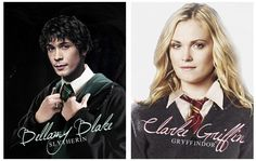 The 100 characters at Hogwarts. Bellamy Blake (Bob Morley) and Clarke Griffin (Eliza Taylor). Tumblr - bellamying II Slytherin and Gryffindor II Harry Potter & The 100 crossover. Bellarke.