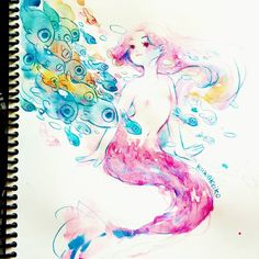 #mermay I can't seem to take a good picture of the lines I made with neon pencil 😌 watercolors and pencils #sketchbook #mermay2018 #art…