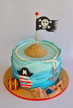 Pirate Cake, Hope's Sweet Cakes, You can find Pirate cakes and more on our website. Pirate Birthday Cake, Birthday Sweets, Boy Birthday Parties, Happy Birthday, 5th Birthday, Birthday Cakes, Treasure Hunt Birthday, Ideas Decoracion Cumpleaños, Pirate Cookies