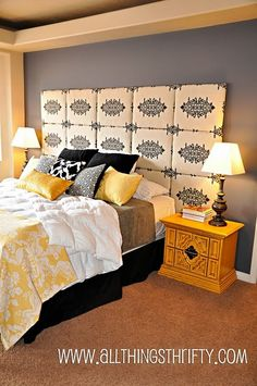 Yellow, black and white bedroom