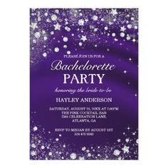 Sparkle Diamond Purple Bachelorette Party Invite