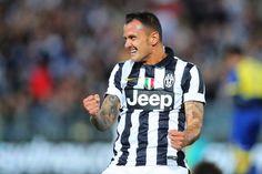 Simone Pepe of Juventus celebrates his match winning goal during the...