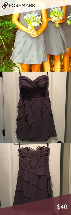 Ruffled strapless formal dress This is such a fun dress. Fits great, beautiful flow with all the ruffles. Awesome grey color that is so trendy. Perfect for any formal event. It's a Sz 10 but fits like an 8 Bill Levkoff Dresses Strapless