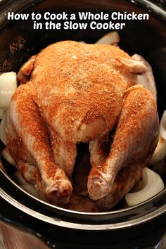 How to Cook a Whole Chicken in the Slow Cooker #recipe