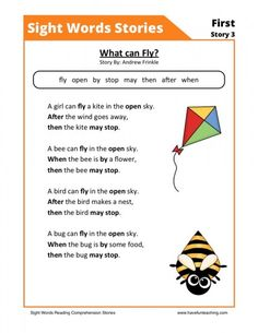 Reading Comprehension Worksheet – What can Fly? This Reading Comprehension Worksheet – What can Fly? is for teaching reading comprehension. Use this reading comprehension story to teach reading comprehension. Phonics Reading, Reading Comprehension Worksheets, Kindergarten Reading, Kids Reading, Teaching Reading, Reading Games, Reading Stories, Sight Word Flashcards, Sight Word Worksheets